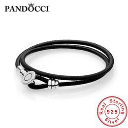charms pan Promotion PANDOCCI Pan 925 Sterling Silver Black Double Bracelet en cuir, Clair CZ Diy Original Charms Bijoux Femmes Cadeaux
