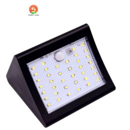 Wholesale Led Driveway Lighting - Solar Powered LED Wall Light Outdoor Waterproof Security Lights PIR Motion Sensor Solar Wall Lamp for Garden Patio Driveway Deck Stairs