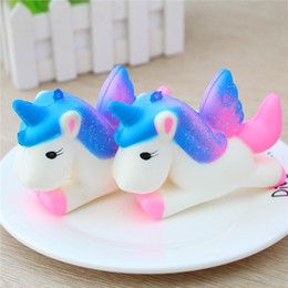 Wholesale Big Horse Toys - 11CM Jumbo Colorful Unicorn Squishy Doll Slow Rising Flying Horse Phone Strap Decompression Toys Kids Fun Gift Toys