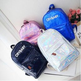 Wholesale harajuku school bags - 4 Colors Harajuku Embroidery Letters Crybaby Hologram Laser Backpack Women PU Leather Backpack School Bag Outdoor Rucksack CCA9960 50pcs