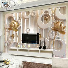2019 i fiori di loto sfilano Personalizzato Adesivo murale Carta da parati 3D Fiore di loto Stile europeo Arte pittura murale Soggiorno TV sfondo Murale Papel De Parede 3D i fiori di loto sfilano economici
