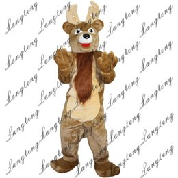 Wholesale Reindeer Christmas Costume - 2018 New high quality reindeer deer Mascot costumes for adults circus christmas Halloween Outfit Fancy Dress Suit Free Shipping003