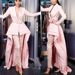 Eleganti abiti da ballo rosa con pantaloni Abiti da sera alti in pizzo ad alta definizione da vestito da promenade lunghe cinghie variopinte fornitori