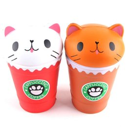 Wholesale cake coffee cups - Squishy Pink Coffee Cup Cat Slow Rising Toy Relieve Stress Cake Sweet Food PU Cell Phone Strap Phone Pendant Key Chain Toy Gift