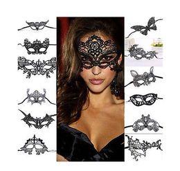 Maschere di occhio di carnevale online-1 PZ Donne Sexy Pizzo Nero Occhio Maschera Travestimento Ball Prom Halloween Carnevale Veneziano Fantasia Fantasia Costume Per Anonimo Mardi