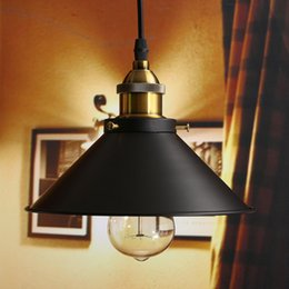 Wholesale antique industrial light fixtures - Loft Vintage Ceiling Lamp Round Retro Ceiling Light Industrial Design Edison Bulb Antique Lampshade Ambilight Lighting Fixture