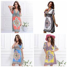 Wholesale Lady Summer Bohemian Chiffon Women - Beach Dress Summer Maxi Dress Ladies Vintage Bohemian Long 4XL Plus Size Women Clothes Three Quarter Sleeve