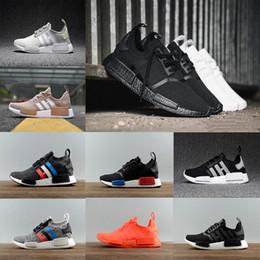 Wholesale Men Running Trainers - 2018 NMD R1 Running shoes OG Primeknit Japan Triple black white PK men women Orange Classic trainer Shoe red Runner sports Sneaker 36-45