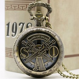 Wholesale Gift Sword - Free Shipping New Vintage Bronze Steampunk Sword Art Online Hollow Quarzt Pocket Watch Necklace Chain Kids Men Women Clock Gifts
