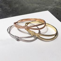 Nueva pulsera anudada coreana de las señoras de la manera Pulsera llena de brazalete de la joyería de la marca de la pulsera del diamante desde fabricantes