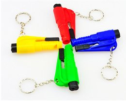 Wholesale rescue strap - Mini 3 In 1 Car Styling Pocket Auto Emergency Escape Rescue Tool Glass Window Breaking Safety Hammer with Keychain Seat Belt Cutter
