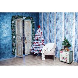 2019 portraits bleus Vieux bois porte nouveau-né bébé enfants fête de noël toile de fond imprimé arbre de Noël blanc murs bleus famille photo arrière-plans portraits bleus pas cher