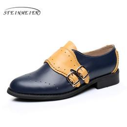 Wholesale Purple Vintage High Heel Shoes - Genuine leather big woman US size 11 designer vintage flat shoes round toe handmade blue yellow 2017 oxford shoes for women fur