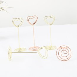 Wholesale Wedding Table Place Cards - 6pcs Rose Gold Heart Shape Photo Holder Stands Table Number Holders Place Card Paper Menu Clips For Wedding Party Decoration