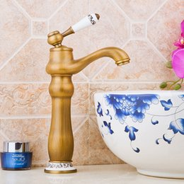 Wholesale Handle Levers - Basin Faucet Antique Washbasin Taps Single Ceramic Design Handle Bathroom Sink Luxury Home Decoration Single Lever WF-902