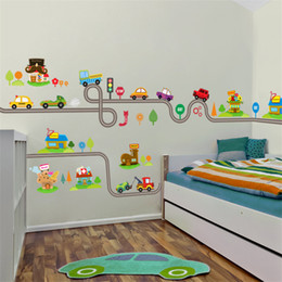 Wholesale Kids Car Wall Stickers - highway cars wall stickers for kids baby nursery children's play room bedroom home decor mural art pvc decals