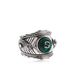 Wholesale turquoise stone wedding ring - Hot sale S925 pure silver ring with nature malachite and leopard head design for women and man wedding jewelry gift PS5552
