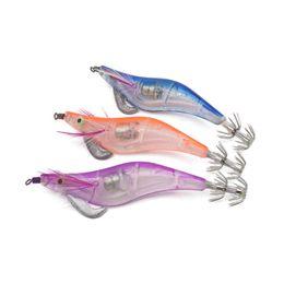 Señuelos de pesca con luz led online-Nueva Llegada 10 cm 12.5g LED Electronic Squid Luminoso Jig Night Pesca Artificial Camarón de Madera señuelo Calamar Jigs Lure Señuelo