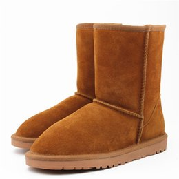 Wholesale suede ankle boots low heel - Winter Women Snow Boots Fashion High Quality Genuine Suede Leather Australia Classic Warm Winter Shoes Woman 25