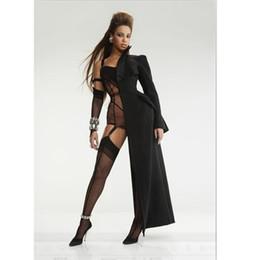 Robe longue et sexy en Ligne-Femmes Sexy Club Demi Manteau Mantle Beyonce Style, Noir Demi Long Manteau Manteau Avec Manches Body Femme DJ Costumes Robe Smock