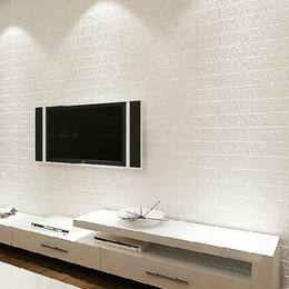 Wholesale Decorative Pvc Wall Paper - 3D White Faux Brick Wallpaper Rolls Embossed Textured Modern VInyl Background PVC Decorative Brick Stone Walls Pattern