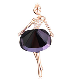 Spille di balletto di cristallo online-Moda Gioielli da sposa Strass Spilla in cristallo Oro Argento Balletto Ragazza Spilla Scraf Broches Spille di lusso PIn per le donne