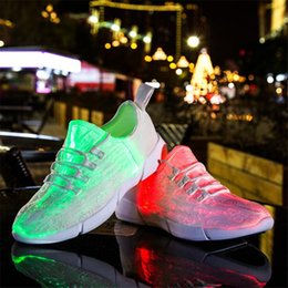 Wholesale led sneakers - 2018 Hot sale Luminous Sneakers Glowing Light Up Shoes for Kids White LED Eur25-45 Sneaker Children Flashing Shoes with Light for Adult&Kid
