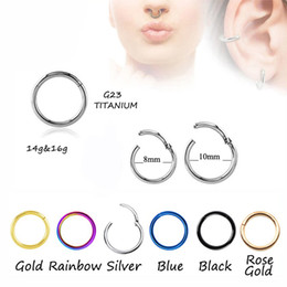 Wholesale piercing cartilage - 100pcs Titanium G23 Hinged Segment Nose Hoop Rings Septum Clicker Nose Piercing Earring Tragus Cartilage Ear Helix Body Jewelry