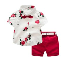 Wholesale white mandarin suit - 2018 Children's clothing Summer Boys Clothing Sets Children Clothing Set Kids Boy Clothes Flower Tie Shirts+Shorts 2PCS Gentleman Suit With