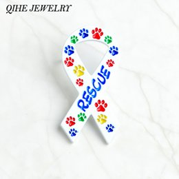Wholesale rescue pets - QIHE JEWELRY Ribbon brooches Colorful paw print RESCUE brooches Pet memorial jewelry Gift for dog lover cat lover