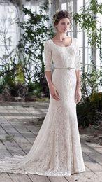 Wholesale Silk Tulle Bridal - 2018 informal beach wedding dresses Sheath Wedding Dresses bateau Garden Wedding Sexy Beach Sheer Informal zipper sleeve Bridal Gowns