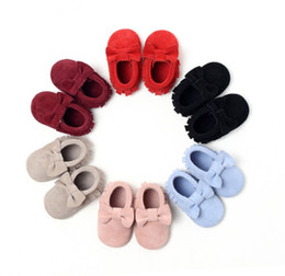 Wholesale Leather Soft Soled Baby Shoes - 2018 baby first walkers in leather for girls cute soft sole shoes good quality free shipping