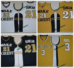 Chemises de démon en Ligne-Tim Duncan Chris Paul chemises de basket-ball universitaire Wake Forest démon diacres Collège pas cher cousu maillot de basket-ball universitaire S-XXL