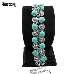 Wholesale Channel Belts - Small Snail Crystal Natural Stone Belt Bracelet Vintage Look Antique Silver Plated Party Fashion Jewelry B042