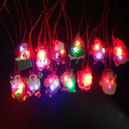 Wholesale led light up necklace - 2018 LED Christmas Light Up Flashing Necklace Children Kids Glow up Cartoon Santa Claus Pendant Party Xmas Dress Decorations Gifts HH7-850