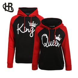 подходящие толстовки Скидка Пара балахон-Король и Королева его и ее-новый дизайн пара соответствия балахон