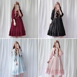 Vestidos de boneca vintage on-line-JSK Japão Estilo Lolita boneca gola vestido Vintage babydoll vestido bispo manga Suculenta plissado frete grátis