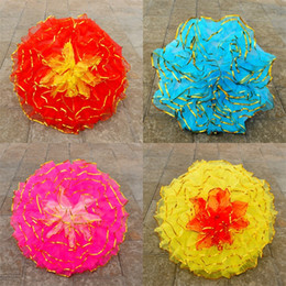 Wholesale Iron Fabric Flowers - Craft Umbrella Gauze Iron Rod Metal Frame Dance Prop Large Small Handmade Colourful Flower Umbrellas Direct Deal 28sz2 V