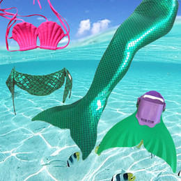 Wholesale Christmas Swimwear - ermaid tail design 2017 Factory unique design Direct Sale Full Scale Mermaid Tail Swimmable Swimsuit for girls Birthday gifts Swimwear Bi...