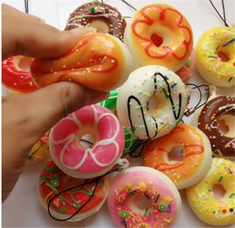 Wholesale Donut Mobile - 50pcs- New 5cm Kawaii squishy round btrad donut Squishy Bun soft Mobile Phone Pendant mix color order cheap sale