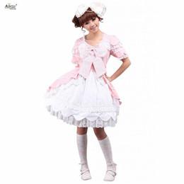 01d4e958b04e3 2018 Womens Pink Sweet Lolita Dress Cotton Short Sleeves Bow Ruffles lolita  Style Cute Girls Lace Dress Cosplay Costumes