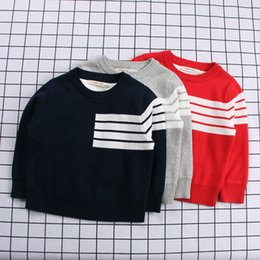 Wholesale Kids Thick Sweater - INS 2 color 2018 NEW style spring Kids long Sleeve Thick double knitted children's Cotton Striped sheathing sweater kids high quality cotton