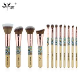 Wholesale New Bamboo Set - Anmor New 12PCS Make Up Brushes Bamboo Professional Makeup Brush Set Soft Synthetic Cosmetics Brush Kit