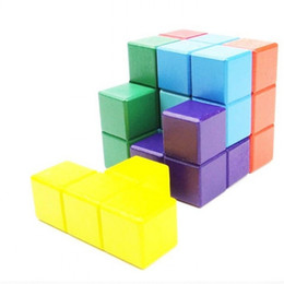 Wholesale Magic Colours - Toy Block Magic Cube Colour Wooden Seven Grains Building Blocks Assembling Intellectual Unlock Challenge IQ Of The Child 5 5yh W