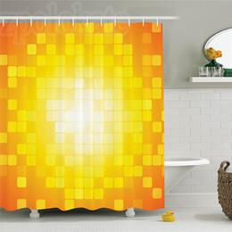 Décor contemporain en Ligne-Décor jaune Rideau de douche Ensemble mosaïque rétro Carré Formes et motifs Pixels Rayons Chic Contemporain Graphisme Salle de bains