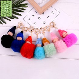 Wholesale cute charms for sale - Creative Sleeping Doll Keychains Cute Fur Smile Key Buckle Pompom Plush Keys Ring For Car Bag Charms Hot Sale 3mx Z