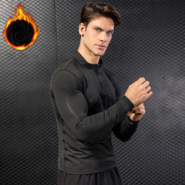 Длинный рукав футболка шерсть онлайн- Add Wool Compression Shirt Long Sleeve Sport T-Shirt Quickly Dry Fitness Gym Top Tee Male Yoga Clothes Running Shirt Men