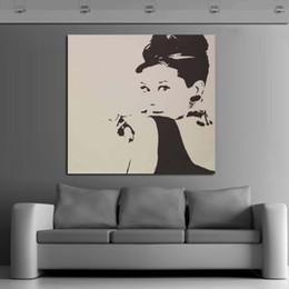 arte da parede da lona de audrey hepburn Desconto Alta Qualidade 100% Pintados à Mão Audrey Hepburn pinturas a óleo Arte Da Parede Pop Art handmade Pinturas A Óleo Sobre Tela