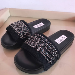 Wholesale Canvas Slides - 2018 Women Luxury Natural Real Genuine Slippers Flat Shoes Sandals Slides Mules