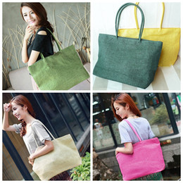 sacs en toile de paille Promotion Mode femmes été paille Weave épaule fourre-tout Shopping Lady sac de plage sac à main sac à main paille épaule fourre-tout Shopper sacs à main